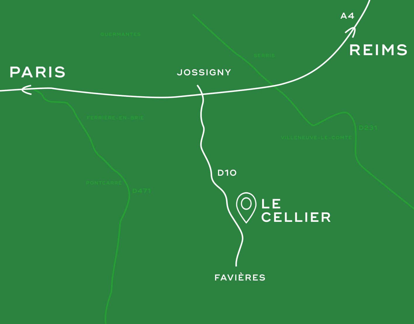 Plan accès Cellier ferme 30 arpents Seine et marne